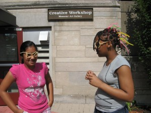 Art Day School girls who made their own funky pipecleaner glasses