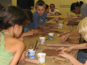 Having fun with clay Green group Art Day School August 23