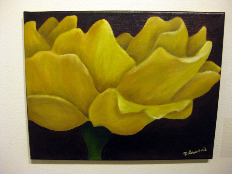 "Domenica Gruschow, ""Yellow Rose"", oil on canvas"