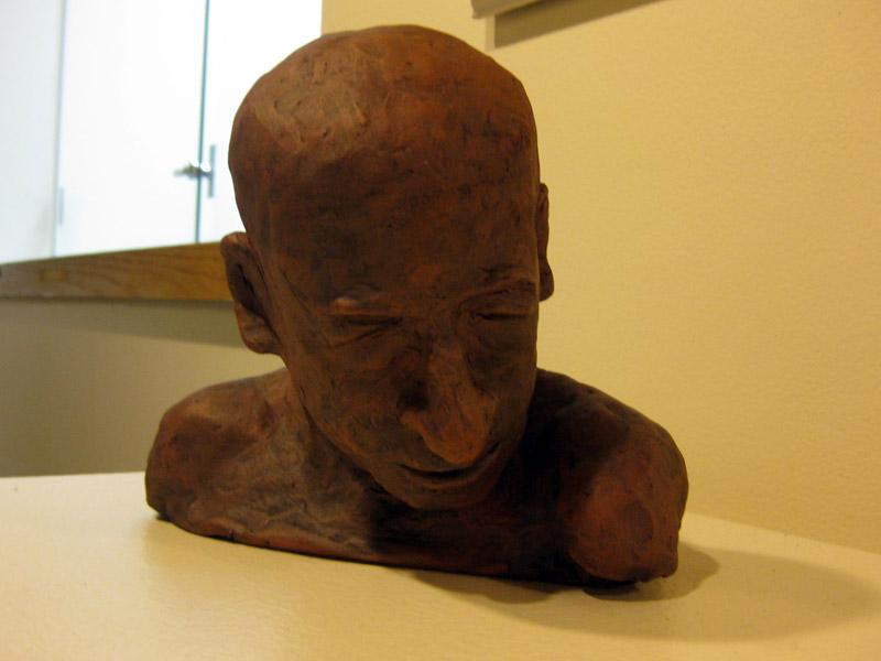 "Patricia Worrad, ""Cyrano"", fiber clay stoneware, clay, rocks"