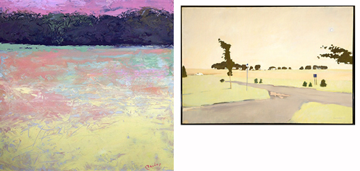 Kathryn Bevier Title: Yellow Field (left) Medium: Oil and Wax Inspired by Fairfield Porter, The Beginning of the Fields (right)