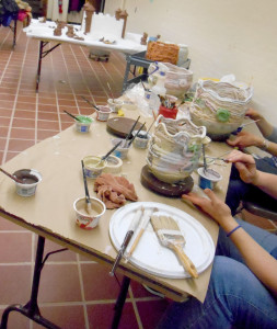 glazing community coil-built pots