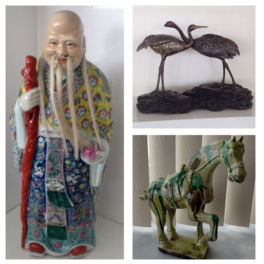 Wise Man, Chinese, Cranes and Tang Horse