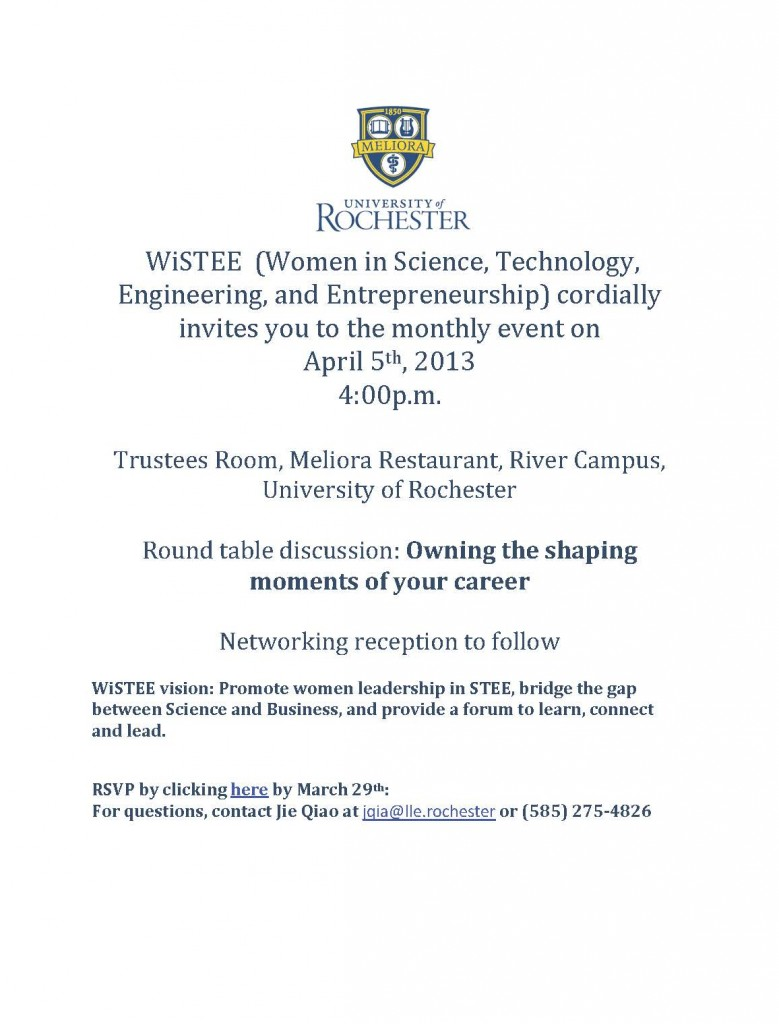 Invitation to WiSTEE April's Event_03142013