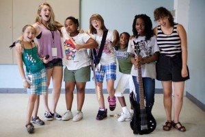 Some campers from Girls Rock! Rochester Summer Camp