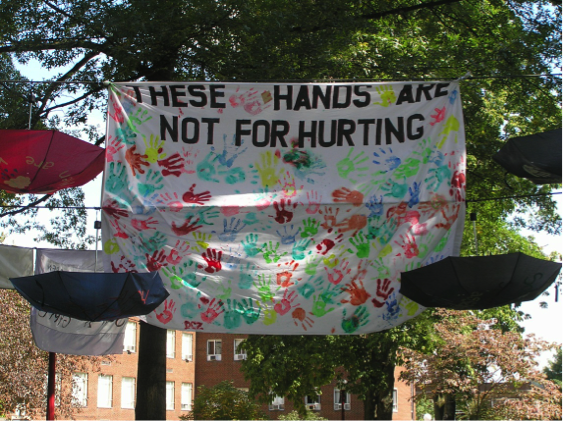 Display for RAINN Day at Indiana University of Pennsylvania; Each hand print is a pledge of non-violence by a passerby.