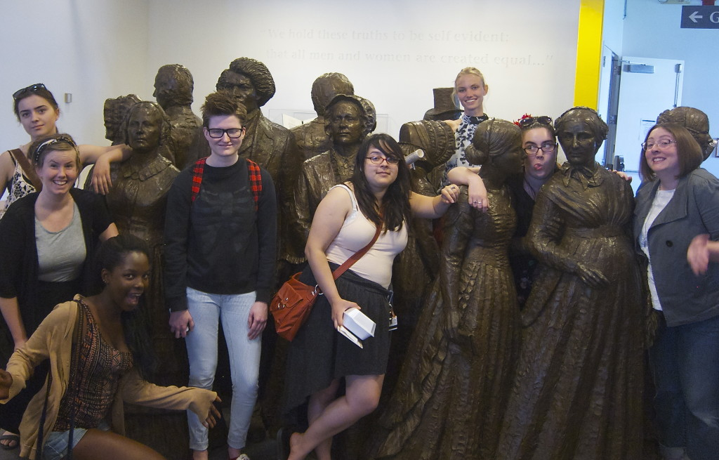 Rocxxy interns and staff being silly on a field trip to the Women's Rights National Historic Park in Seneca Falls, NY this summer