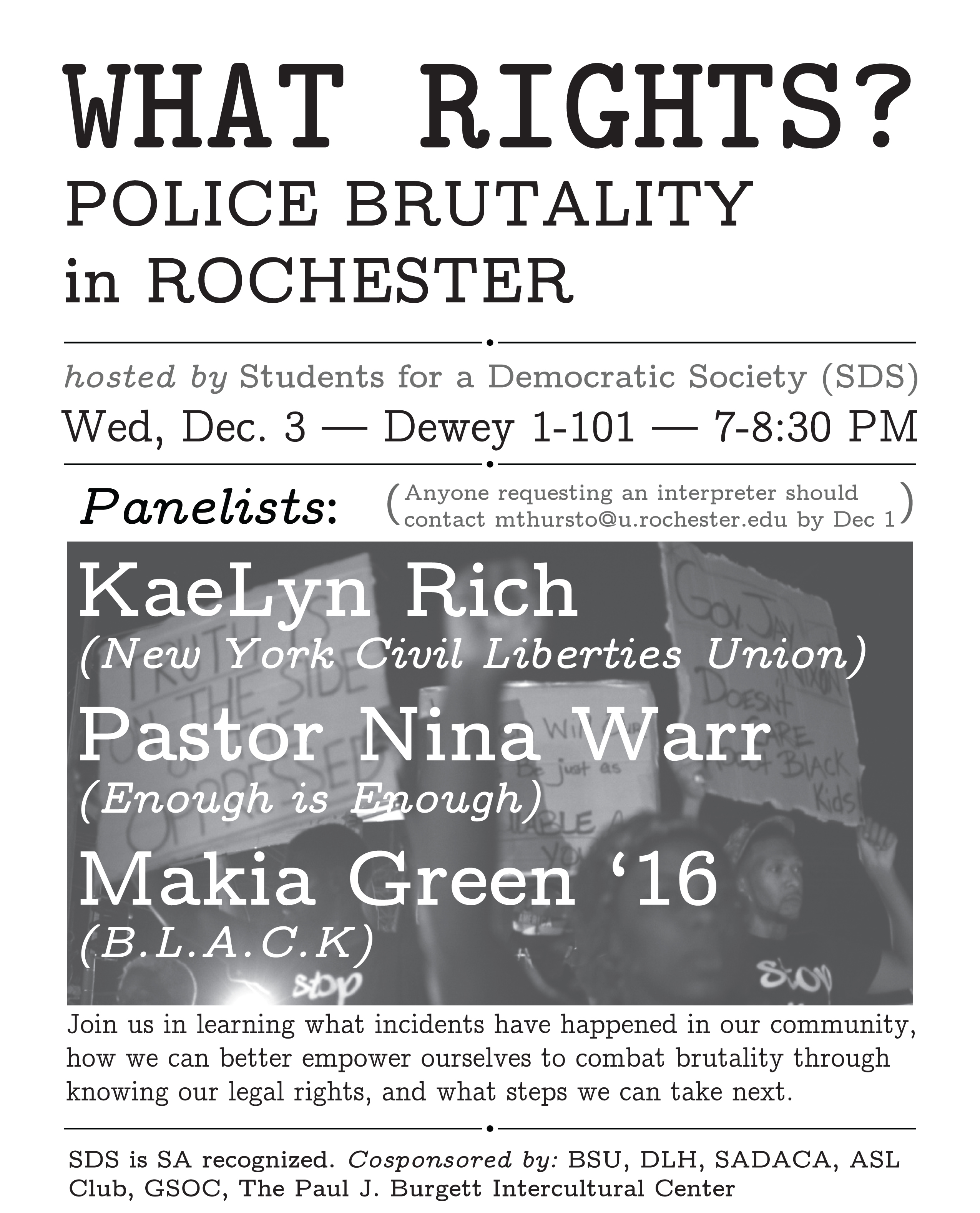 what rights police brutality in roc flyer final 12-3-14