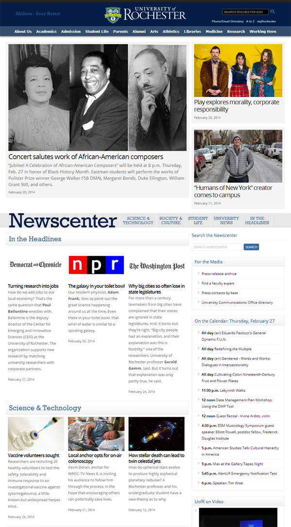 screenshot of the NewsCenter homepage, showing top stories and categories