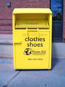 yellow Planet Aid clothing box