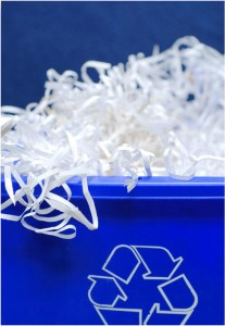 shredded paper in blue bin