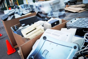 boxes of used computer equipment