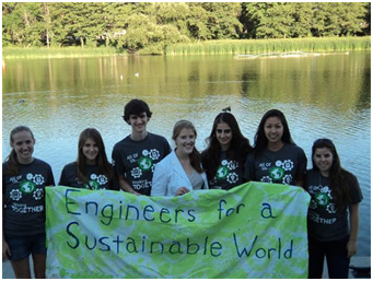 University of Rochester ESW Members outside the Genesee River