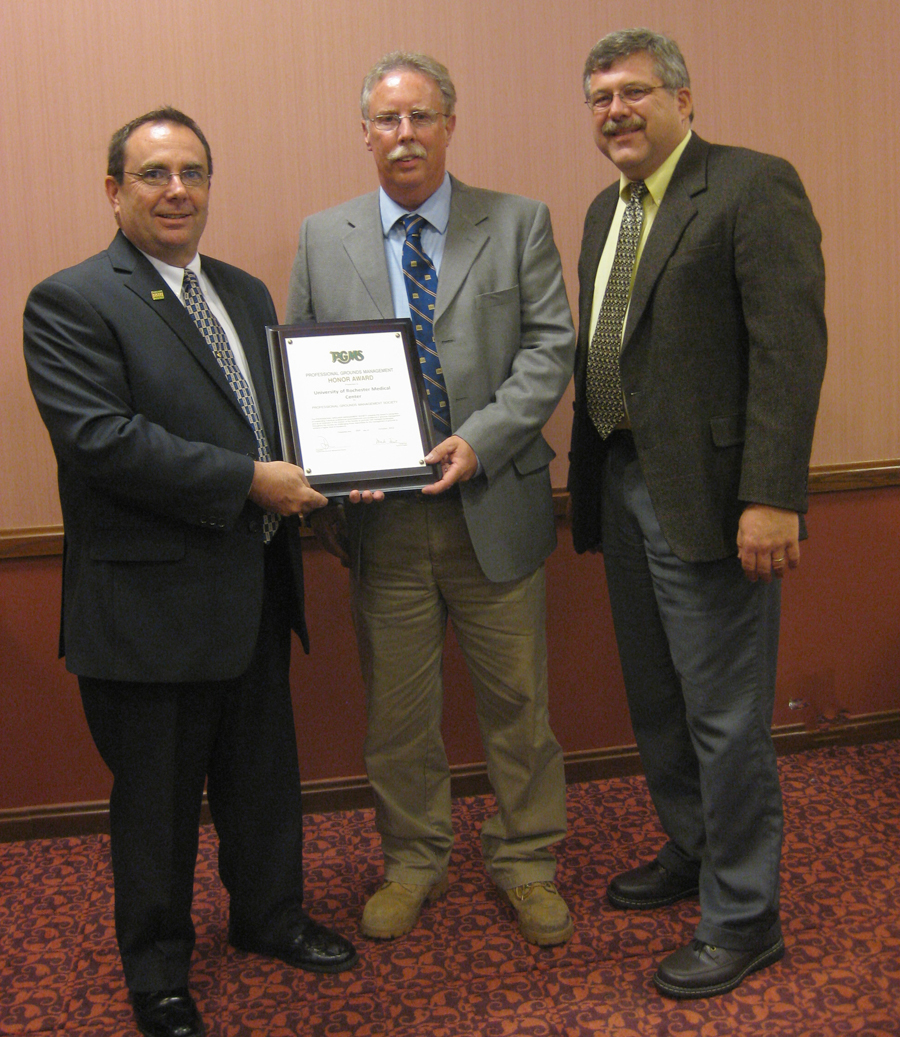 PGMS Past President Donald Bottger, CGM; Mike Miller University of Rochester Horticulture and Grounds Supervisor; Daniel Schied University of Rochester Horticulture and Grounds Manager, CPM