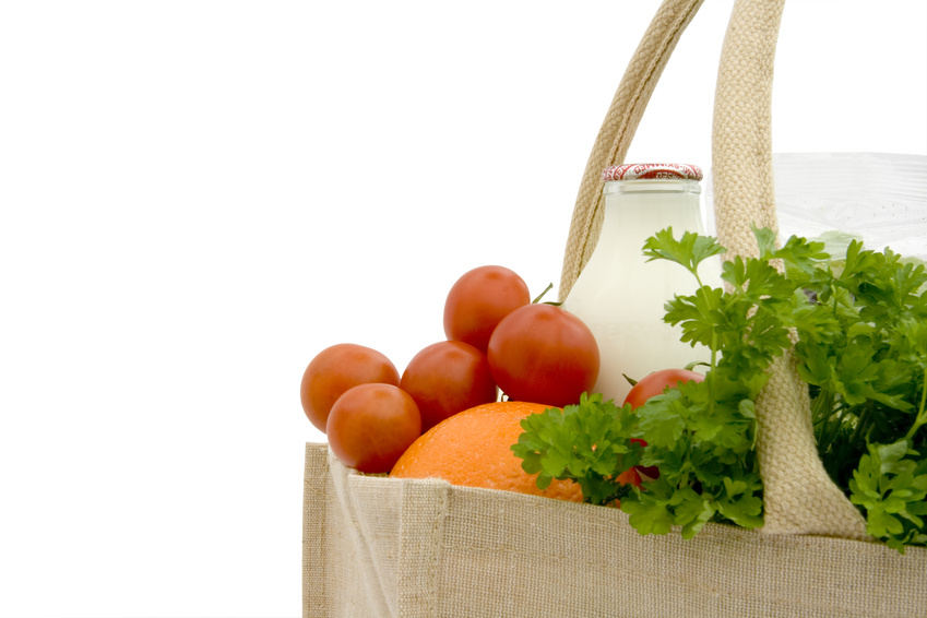 Jute shopping bag with groceries III