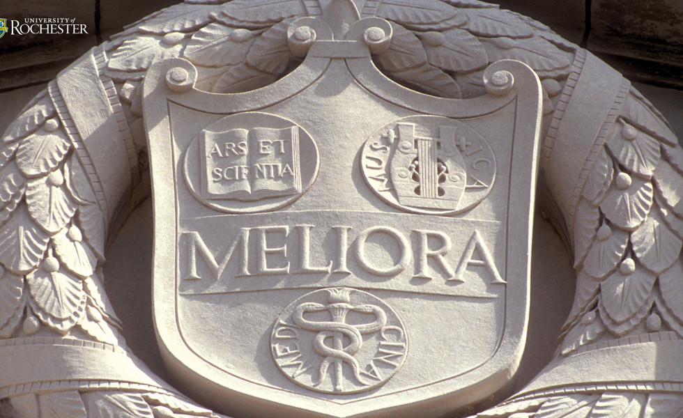 Meliora seal in stone