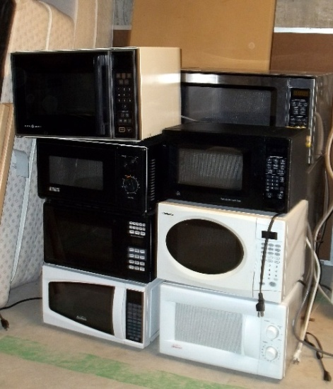 Abandoned microwaves waiting for a new home