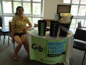 Leslie Wolf tabling at the Green Orientation event