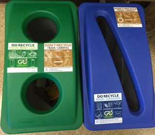 labels show where to recycle paper and where to recycle plastics