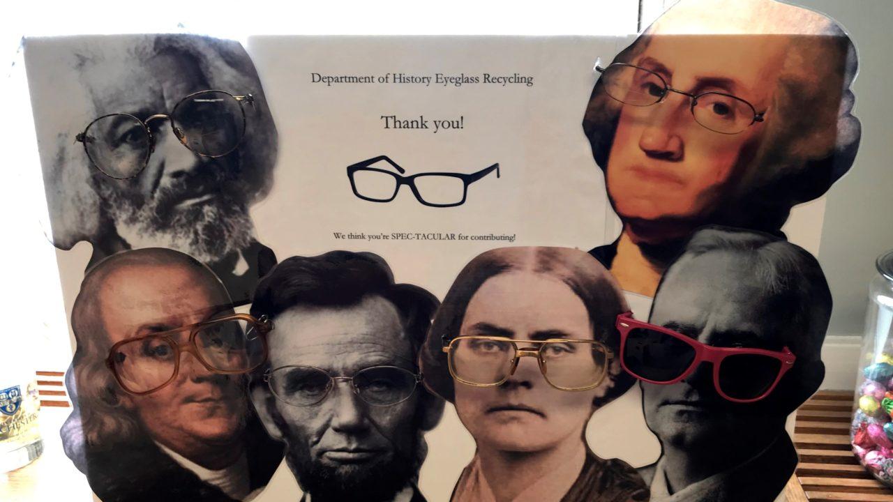poster showing historical figures wearing eyeglasses