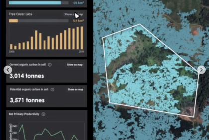 A screenshot of the open data platform Restor's user interface
